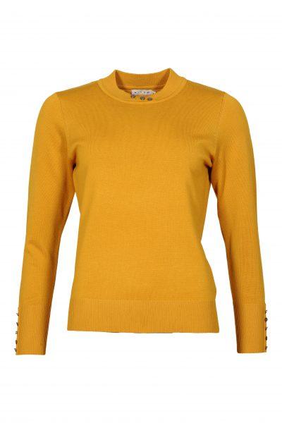 Micha keltainen neulepusero, nappikoristeet kauluksessa ja hihansuissa-126-163