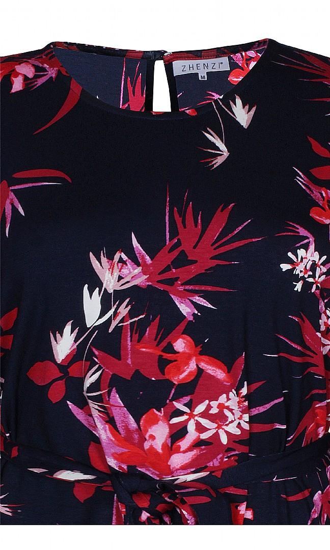 Zhenzi tunika Datura, punaiset kukat_Felinas_vaateliike
